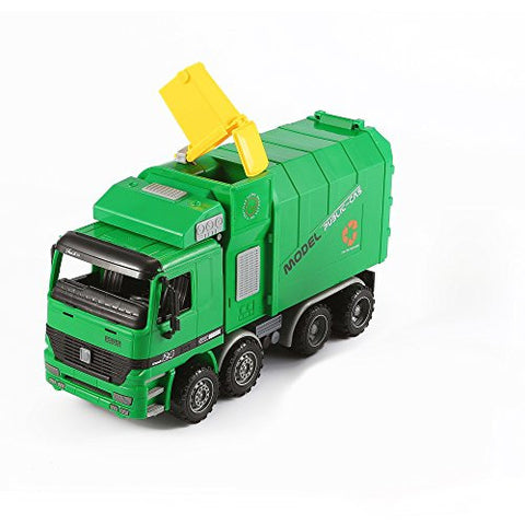 """KING Series"" Inertia City Service Vehicle Green Side Loading Garbage Truck Garbage Collection with Rubbish Refuse Bin (1:24 scale) by KinderToys"