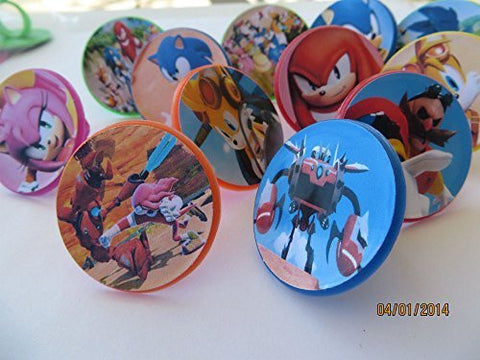 12 Sonic Boom Rings cupcake toppers - birthday party favor -Hedgehog Tails Sega by Unknown