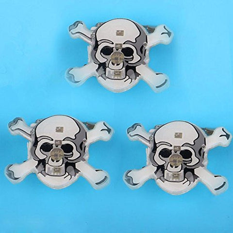 1 Pc LED Flashing Brooch Pumpkin Ghost Skull Witch Light Up Toys Glowing Badge Kids Party Supplies-Skull White -Pier 27