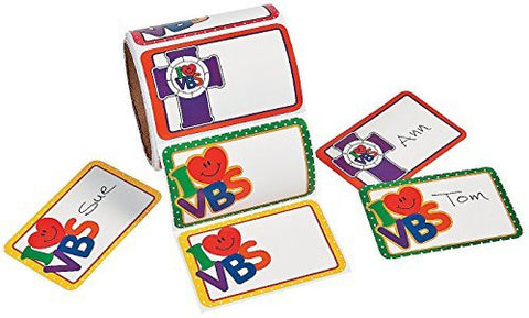 """I Love Vbs"" Nametags (100 Stickers) 3 1/2"" X 2 1/4"". Paper."