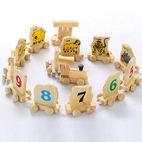 1 Set Small 0-9 Digital Number Wood 12 Chinese Zodiac Animals Train Toy Building Block Educational Math Toy for Baby Gift