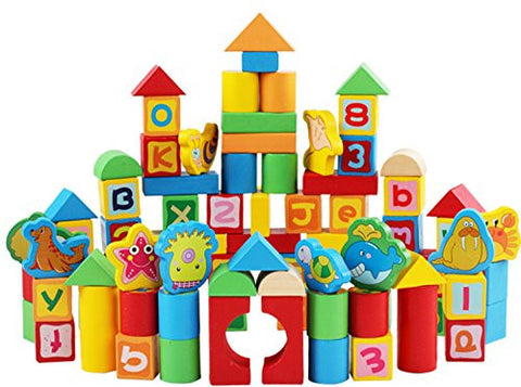 """Marine Theme"" Children's Wooden Barreled Children Intelligence Early Baby Toy Building Blocks-Suitable for Children Under 6 Years Old"