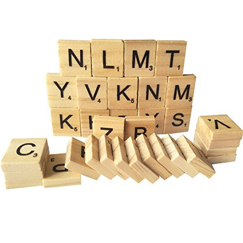 100 Wooden Alphabet Scrabble Tiles A-Z(All Letters Include)Capital Mixed Letters For Crafts