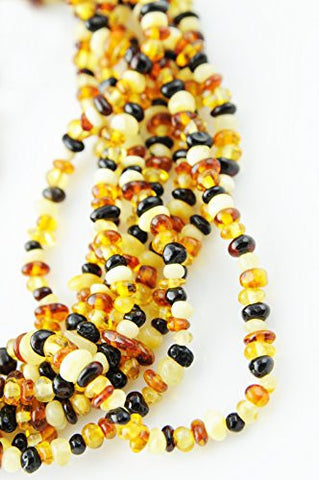 'Pebble Beach' Baltic Amber Necklace 80 Inches (Can Also Be Worn As Bracelet) Cognac, Lemon, Butterscotch and Cherry Amber