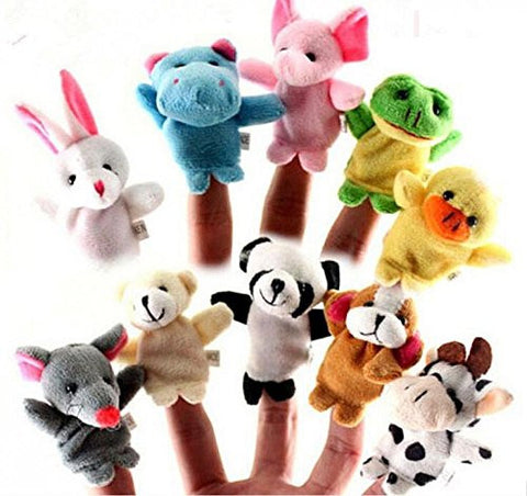 10 Pcs/lot Baby Plush Toys Cartoon Happy Family Fun Animal Finger Hand Puppet Kids Learning & Education Toys Gifts gofal rhodd babi