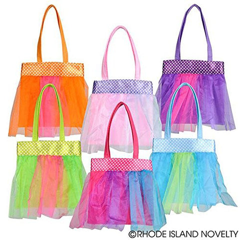 "( 1 PURSE PER ORDER ) 7.5"" TUTU TOTE BAG ASSORTED COLOR"