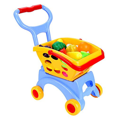 (US STOCK) Arshiner Kids Little Supermarket Shopping Cart with Vegetable and Fruits,Blue