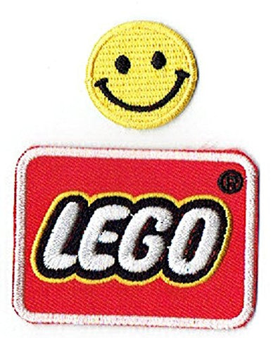 """LEGO : a line of plastic construction toys"" Applique embroidered iron on PATCHES (Wappen, ???? , ??) with Yellow Tiny Smiley Patches by PATCH CUBE"