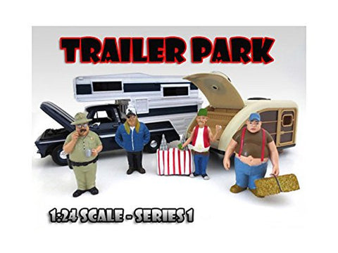 """Trailer Park"" Figure Set of 4 Pieces For 1:24 Scale Model Cars by American Diorama"