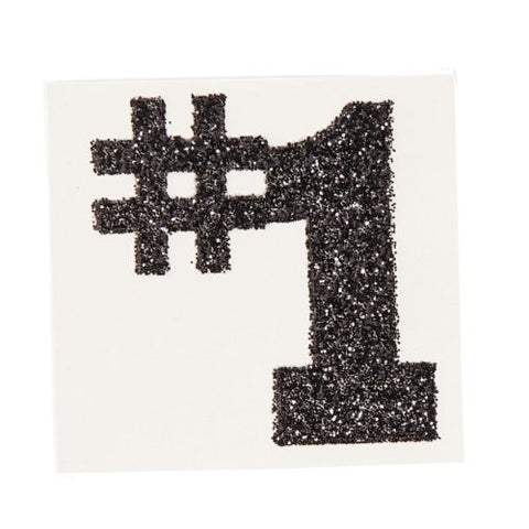 #1 Black Glitter Tattoo Stickers (1 dz)