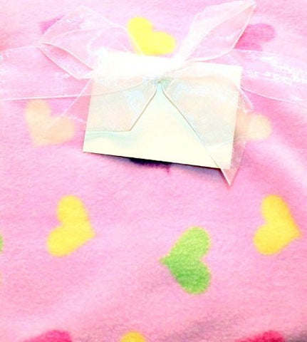 1 X Pink with Colorful Hearts Baby Girls Nursery Fleece Blanket by Bean Sprout