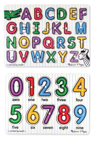 3 Item Bundle: Melissa & Doug See-Inside Alphabet Peg Puzzle + See-Inside Numbers Peg MD3272/3273 + Coloring Activity Book