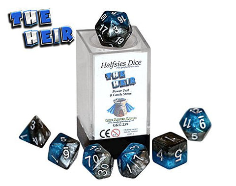 """The Heir"" Halfsies Dice - 7 die polyhedral rpg gaming dice set - Power Teal & Castle Stone"