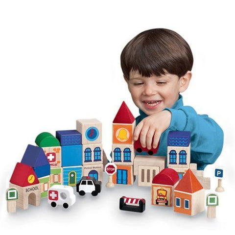 """Build-A-City"" Block Set for Children with 17 Cubes Representing Familiar Buildings, Geometric Roof Tops, Vehicles and More"