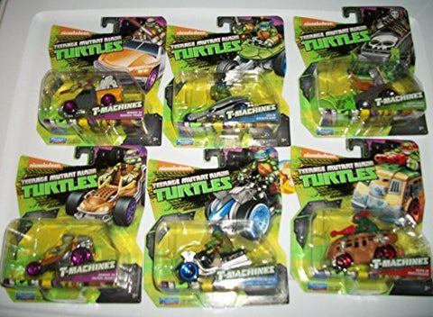 (6) T-Machines Teenage Mutant Ninja Turtle/ Donnie in Patrol Buggy/ Donnie in Service Truck/Leo in AT-3/ Leo In Steath Bike/ Casey Jones In Ice Machine/ Raph in Shellraiser/