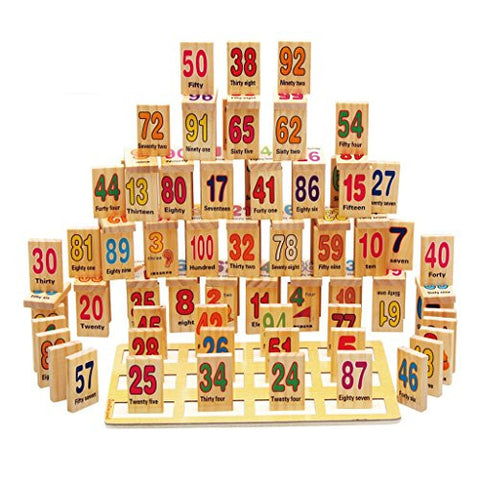 110 Pcs Wooden Number Domino Children Educational Math Learning Toy
