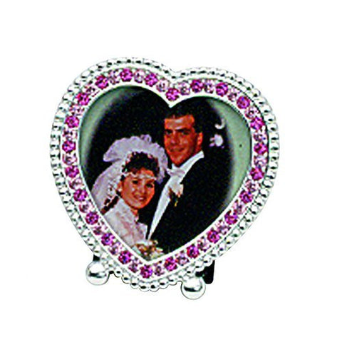 2 HEART WITH ROSE CRYSTAL FRAME - Picture Frame by Elegance Silver