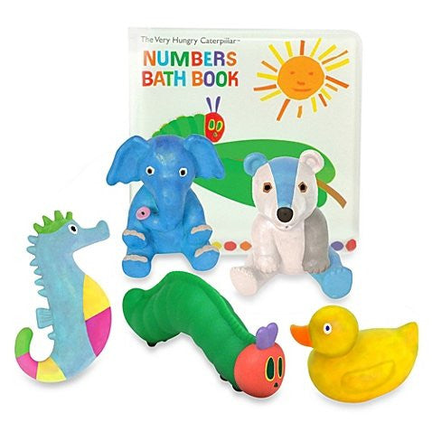 """The Very Hungry Caterpillar Numbers Bath Book"" and 5 Super-colorful Squirties Gift Set By Eric Carle"