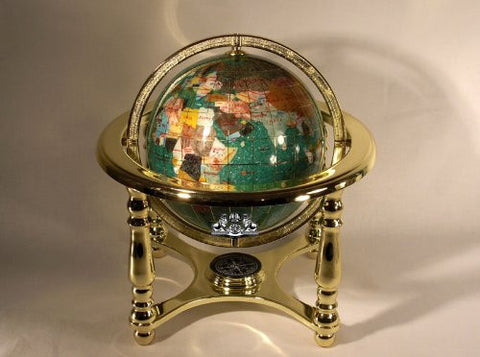 "10"" Tall Green Crystallite Table Top Gemstone World Map Globe with 4-leg Gold Stand"