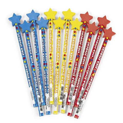 """Star Student"" Pencils With Eraser Tops (1 dz)"