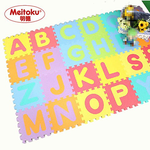 "26PCS Meitoku Soft Kid's EVA Foam Puzzle Play floor Mat / Interlocking Tiles with 26 letters ABC 30cmX30c(12""X12"")3/8""Thick"