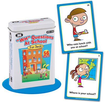 """WH"" Questions At School Fun Deck Cards - Super Duper Educational Learning Toy for Kids"