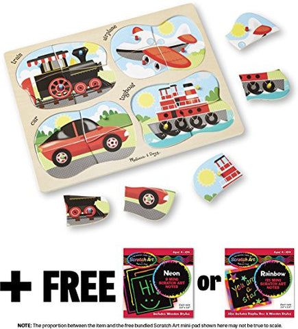 4-in-1 Peg Vehicles Land Vehicles Theme Peg Puzzle + FREE Melissa & Doug Scratch Art Mini-Pad Bundle [98656]