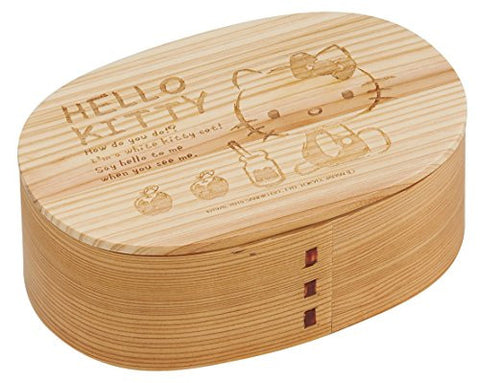 """Magewappa"", Japan traditional-handicraft style wooden Bentobox Hello Kitty"