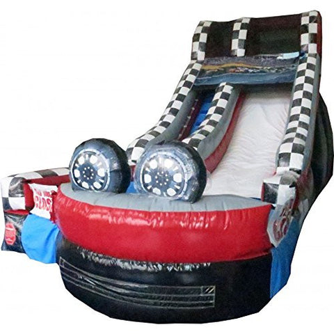 15' Race Car Water Slide - Wet or Dry Commercial Inflatable Slide, Includes 1.5 HP Blower and