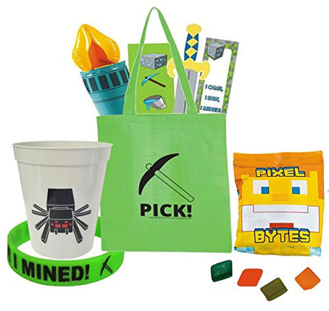 """Minecraft"" Themed Mining Fun 8pc Pre-Filled Gift Bag! Includes Resuable Tote, Souvenir Keepsake Cup & Favors!"