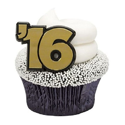'16 CLASS of 2016 Black GRADUATION Grad (24) Cupcake Party Favor Topper RINGS