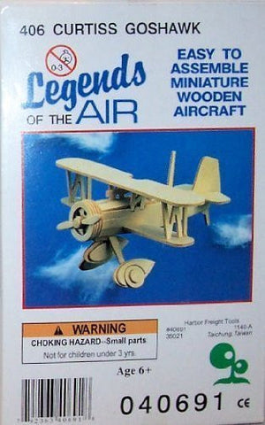 """ABC Products"" - Primitive Plane ~ Minature Balsa Wooden 3-D - Aircraft Kit (Curtiss Goshawk The Curtiss F11C Goshawk (1930s) - United States Fighter Plane - Helps Kids Develop Coordination and Problem-Solving Skills)."