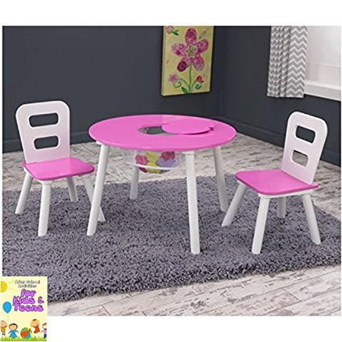 Kids Table and Two Chair Set Indoor Outdoor Pink & White , Study Play Draw Fun Activity , Girls Children & ebook by Easy2Find