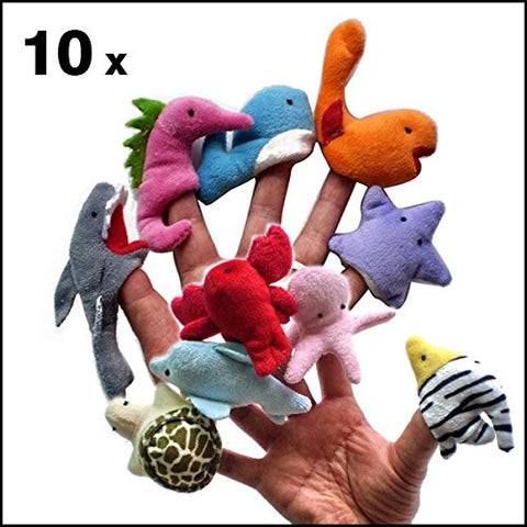 10 Pcs Kinds Of Ocean Marine Animals Finger Puppet Baby Plush Toys Finger Dolls Talking Props^.
