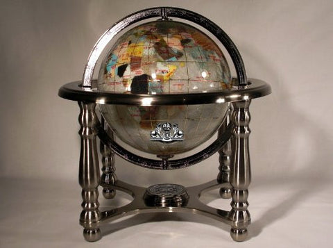 "10"" Tall Mother of Pearl Ocean MOP Table Top Gemstone Globe with 4-leg Silver Stand"