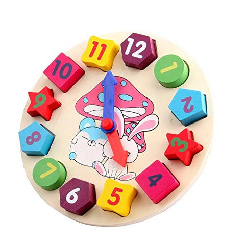 1 pc Colorful Wooden Digital Geometry Clock Baby Kids Children Wooden Clock Blocks Toys Early Educational Toy Shape Number Matching Game