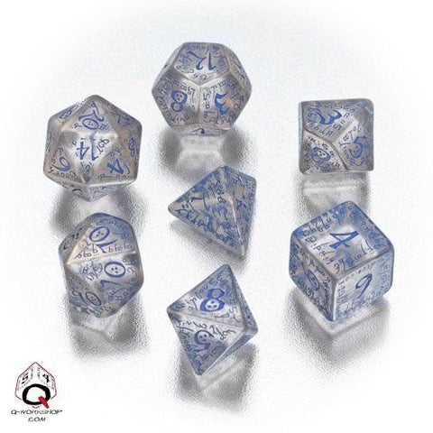 (Ship from USA) Elvish Dice Transparent/Blue (7) Sale /ITEM#H3NG UE-EW23D161592