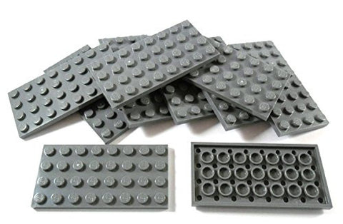 "10 piece LEGO ""plate 4x8 studs"" in New-dark gray."