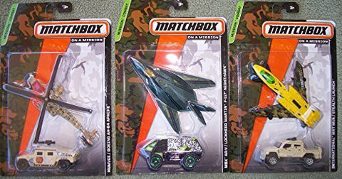 (3) Matchbox Sets with Plane and Truck/Humvee/Boeing AH-64 Apache/Internationl MXT MVA/ Stealth Launch/MBX AR-V Lockheed F 117 Nighthawk
