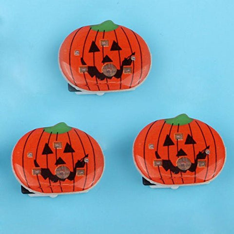 1 Pc LED Flashing Brooch Pumpkin Ghost Skull Witch Light Up Toys Glowing Badge Kids Party Supplies-Red -Pier 27