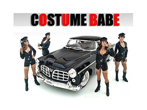 """Costume Babes"" 4 Piece Figure Set For 1:18 Scale Models by American Diorama 23869,23870,23871,23872"