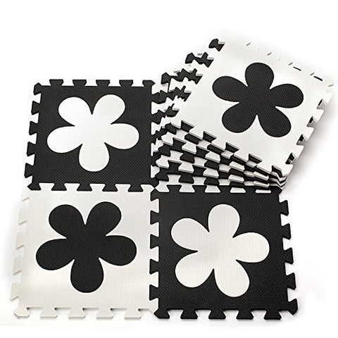 10pcs Black White Flower Style Soft Puzzle Mats Rugs Flooring Mats for Kids Soft Foam Play Mat Jigsaw Pop-Out Mats
