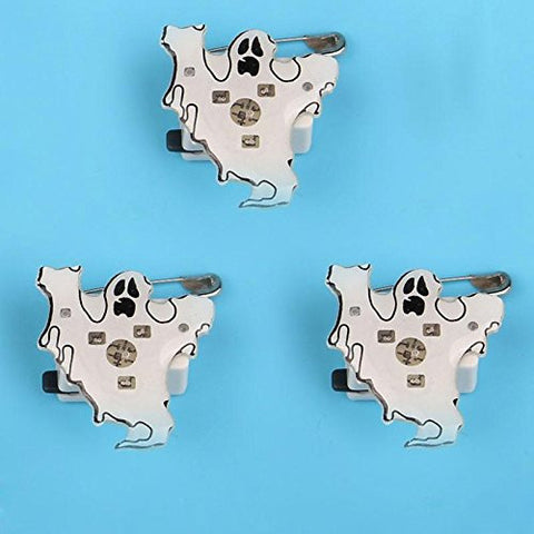 1 Pc LED Flashing Brooch Pumpkin Ghost Skull Witch Light Up Toys Glowing Badge Kids Party Supplies-White Ghost -Pier 27