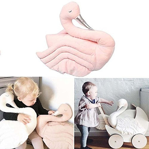 17.7Inch PINK Babys NURSERY Swan Soft Sleeping Pillows Stuffed Plush Animal Room Decor COT Toy