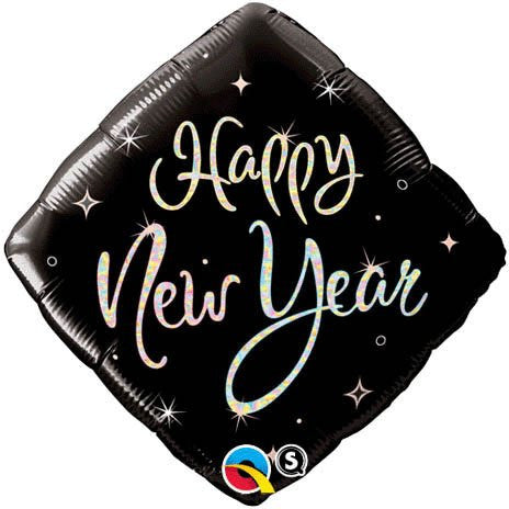 """Happy New Year"" Square Black Sparkle 18"" Mylar Balloon"
