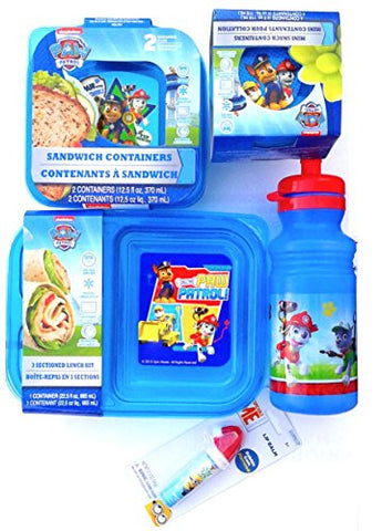 """Paw Patrol 8pc Lunch Bundle"" Set Includes 1- 3 Sectioned Lunch Kit, 4 pack Mini Snack Containers 2 pack Sandwich Holders &18oz Pull Top Water Bottle"