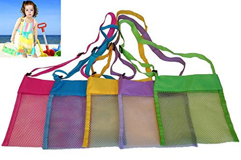 (5 Pcs/Pack)Beach Mesh Bags 10 x 13 inch Breathable Seashell Bags with Adjustable Carrying Straps - Children's Best Beach Toys Storage Bag