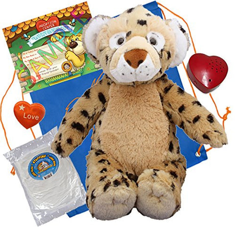 """Spots"" the Leopard (16"" Plush) w/Heart shaped Voice recorder (No-Sew DIY Build-a-Plush Kit)"