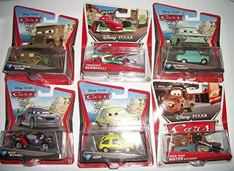 (6) Disney Pixar Cars (All 2010 Except Race Team Mater) Race Team Sarge/Francesco Bernoulli/Petrov Truckov/Max Schnell/Acer/ Race Team Mater