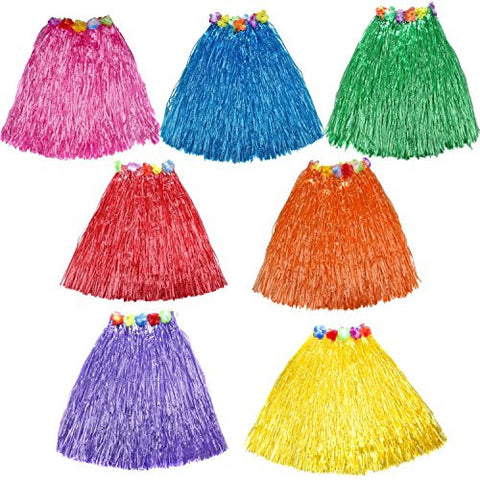 10pc/lot Different Colors Hawaiian Adult Luau Flowered Grass Skirt, 23 inch Long Hula Skirt